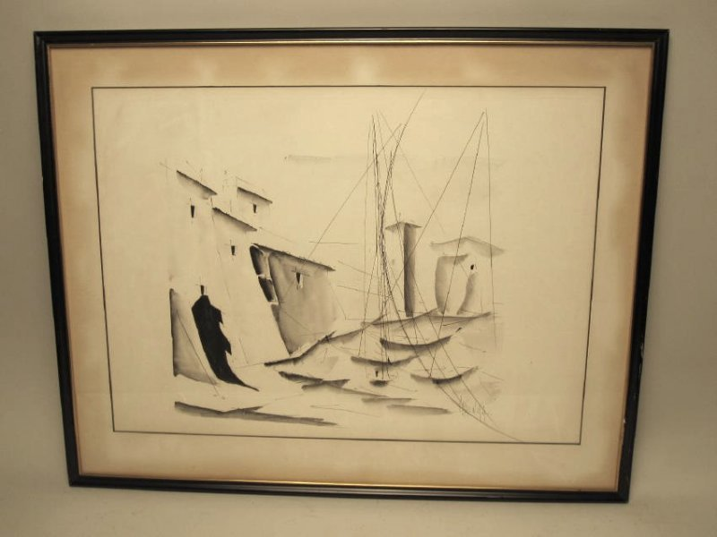 INK ON PAPER DRAWING OF SAILBOATS