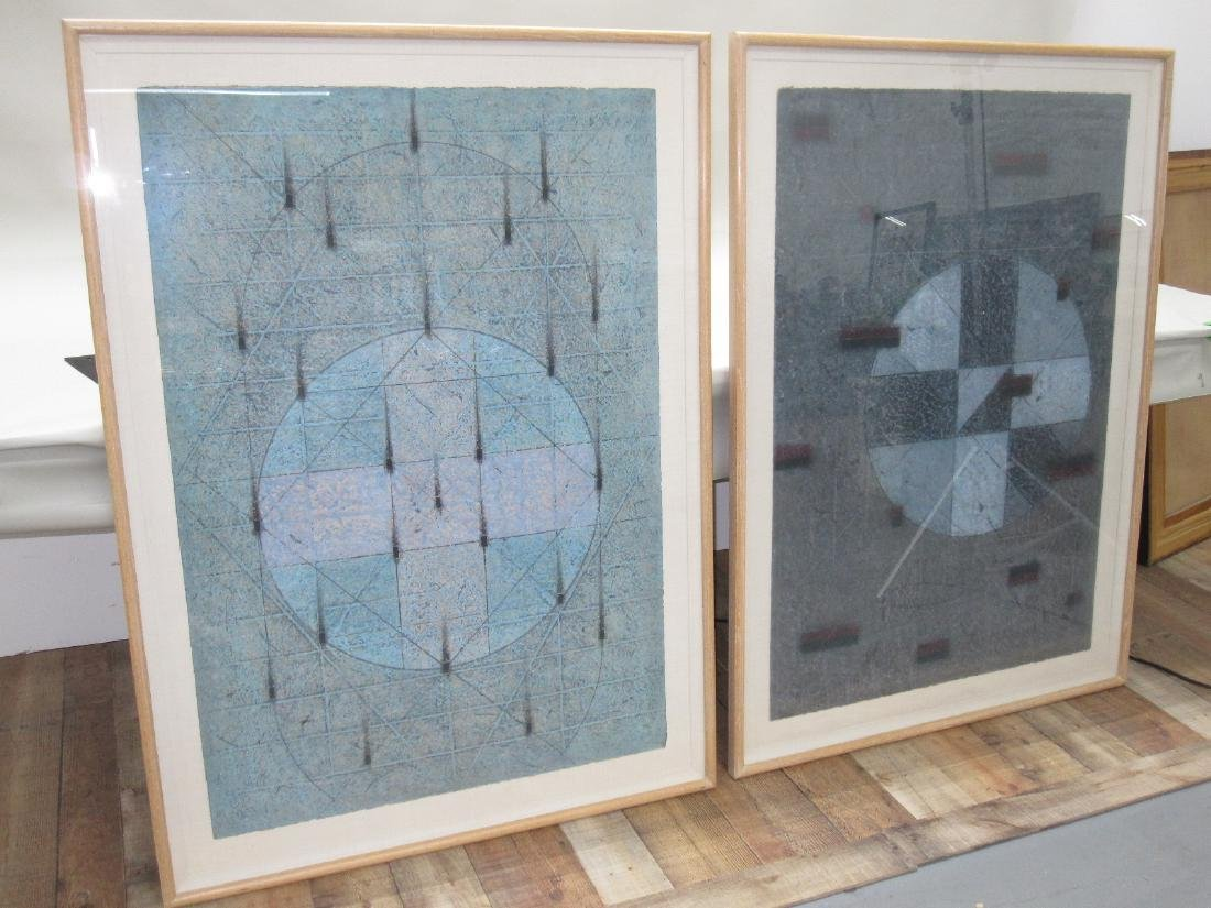 TWO MIXED MEDIA ON HAND MADE PAPER ABSTRACTS