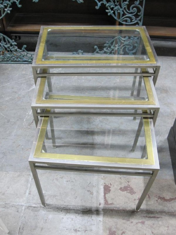 SET OF THREE STEEL AND BRASS NESTING TABLE