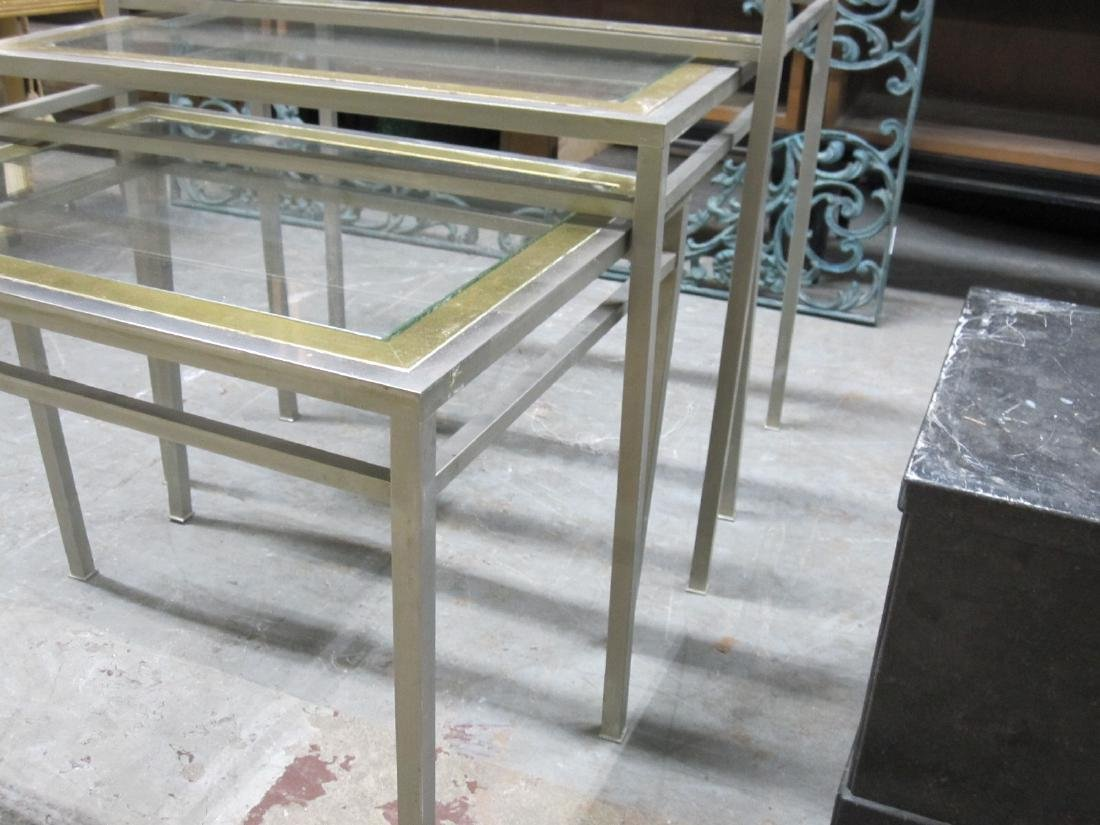 SET OF THREE STEEL AND BRASS NESTING TABLE - 2