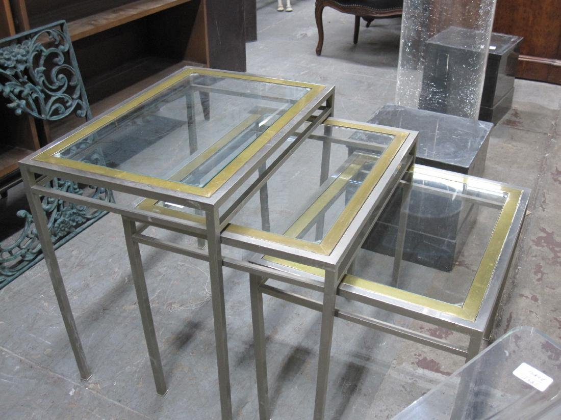 SET OF THREE STEEL AND BRASS NESTING TABLE - 3