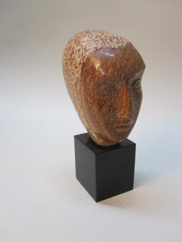 MODERN STONE SCULPTURE OF HEAD