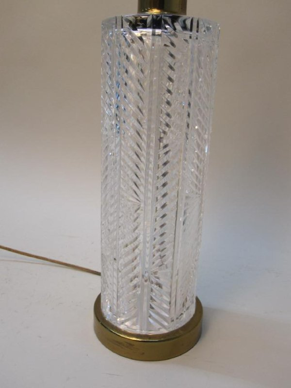 MODERN BRASS AND GLASS TABLE LAMP