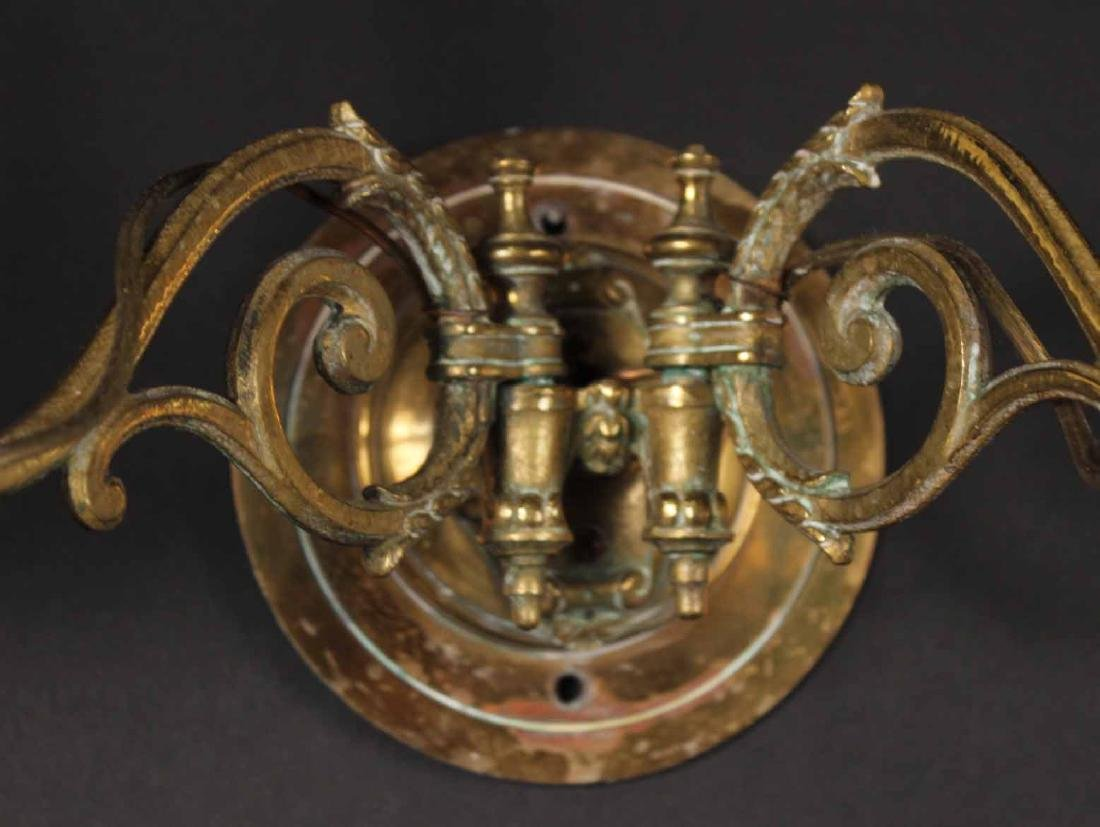 PAIR OF BRASS TWO-ARM WALL SCONCES - 3