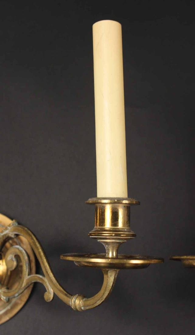 PAIR OF BRASS TWO-ARM WALL SCONCES - 4