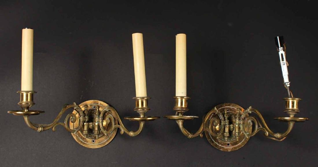 PAIR OF BRASS TWO-ARM WALL SCONCES - 5