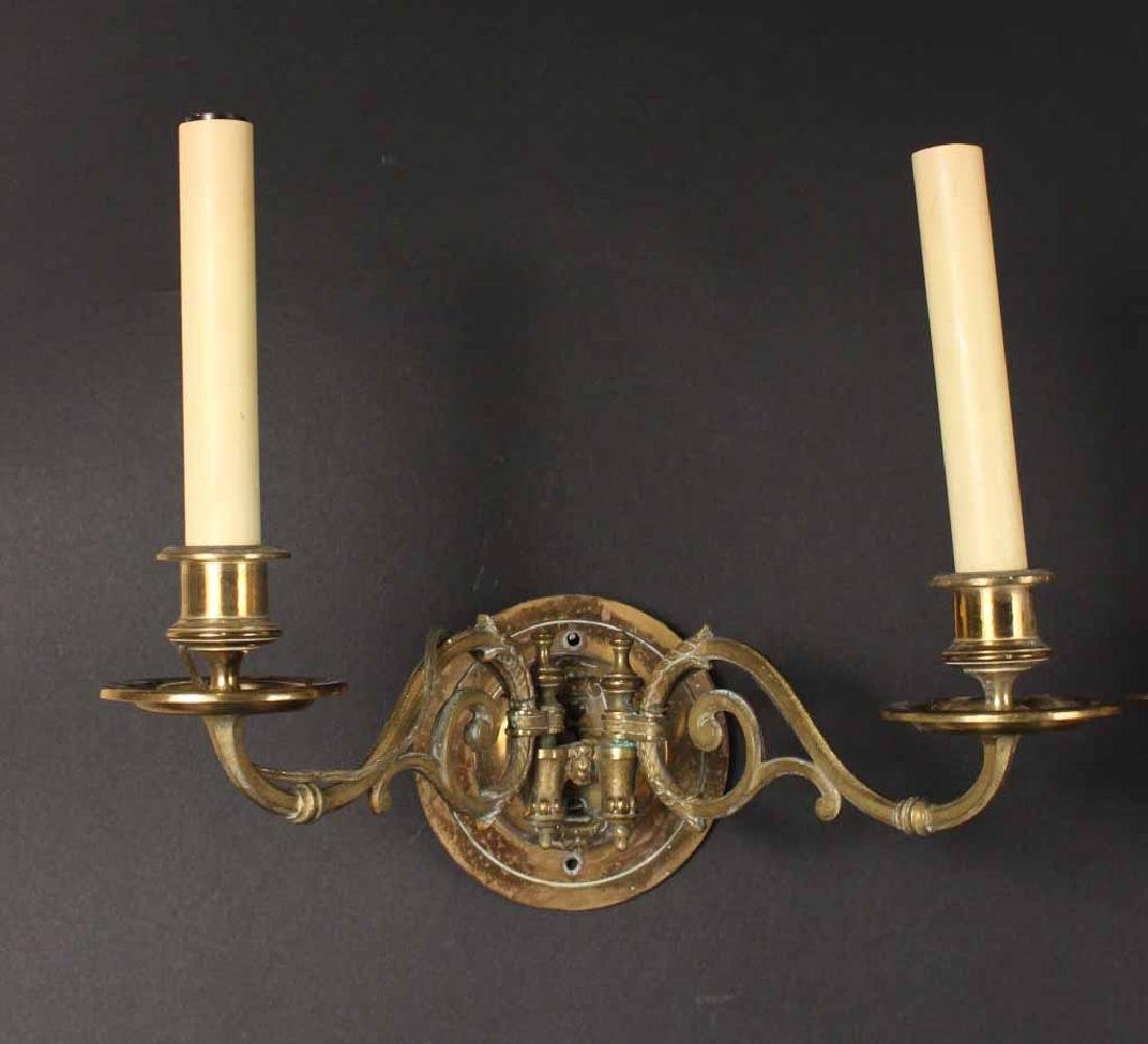 PAIR OF BRASS TWO-ARM WALL SCONCES - 6