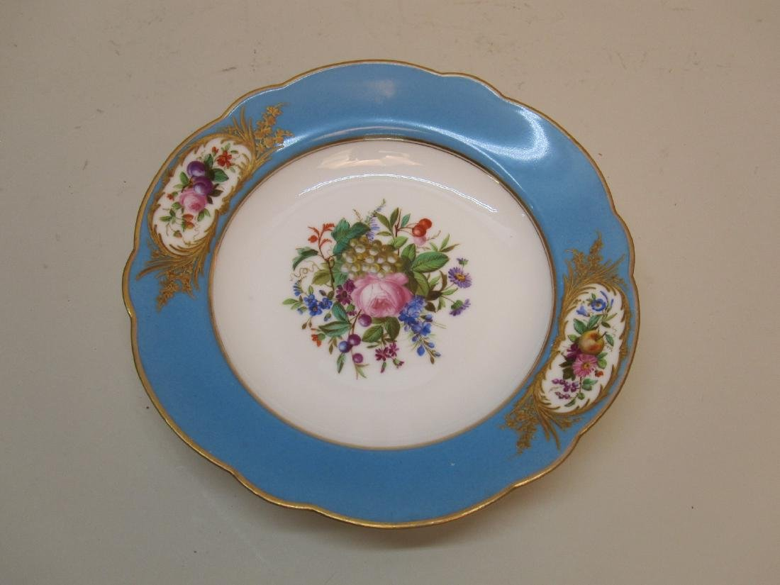 TEN BLUE GILT AND FLORAL DECORATED BOWLS