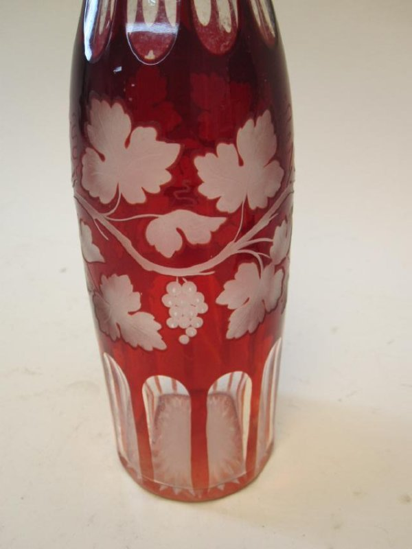 BOHEMIAN RUBY CUT TO CLEAR DECANTER - 2