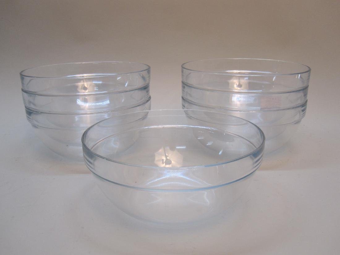 SET OF 7 COLORLESS GLASS MIXING BOWLS