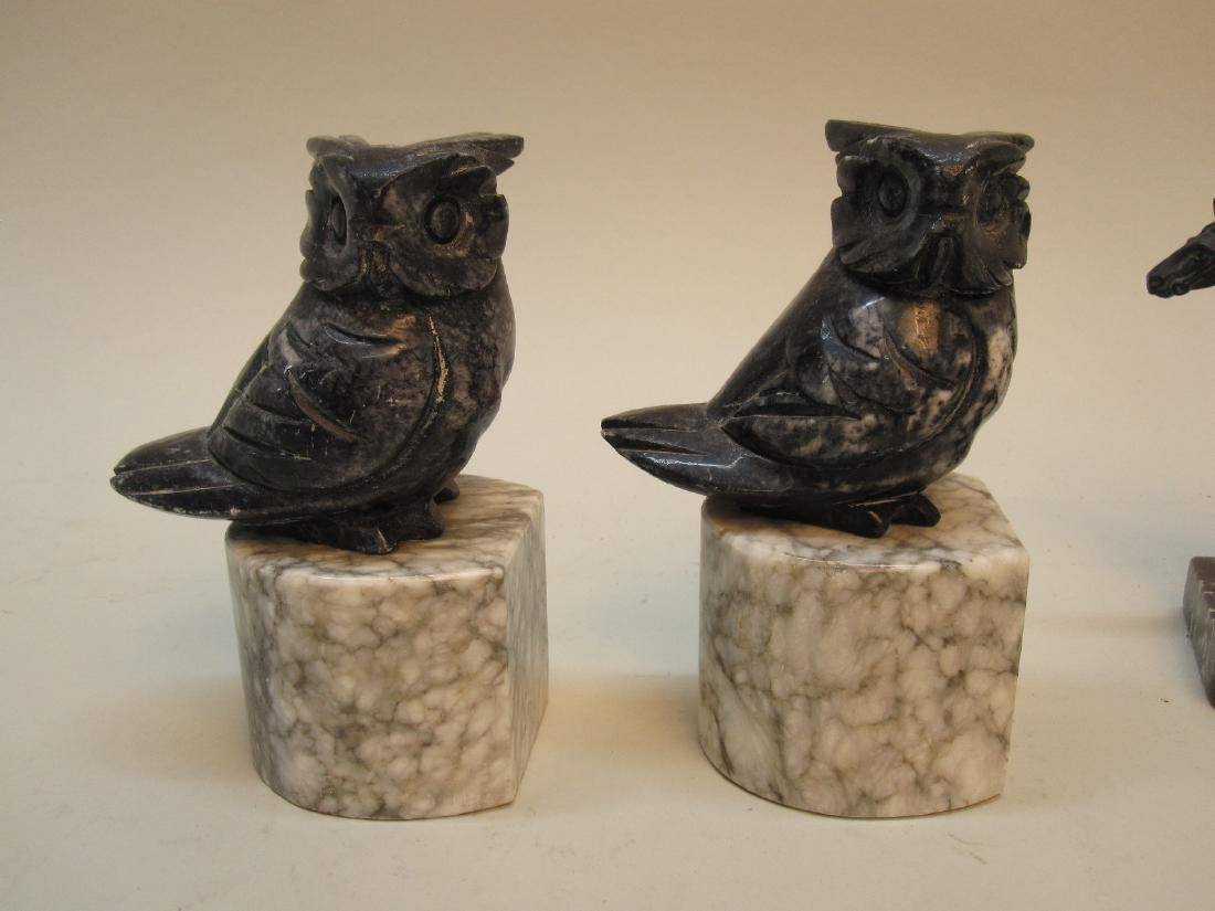 PAIR OF MARBLE OWL FORM BOOKENDS