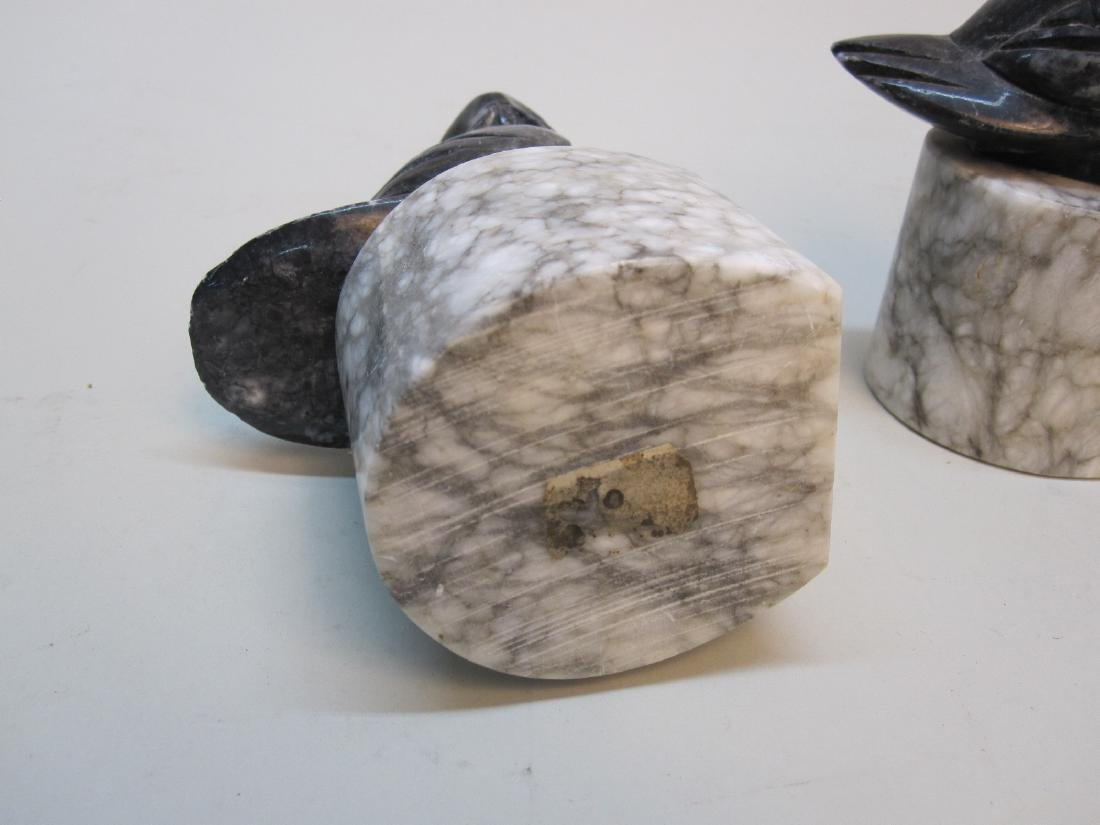 PAIR OF MARBLE OWL FORM BOOKENDS - 4
