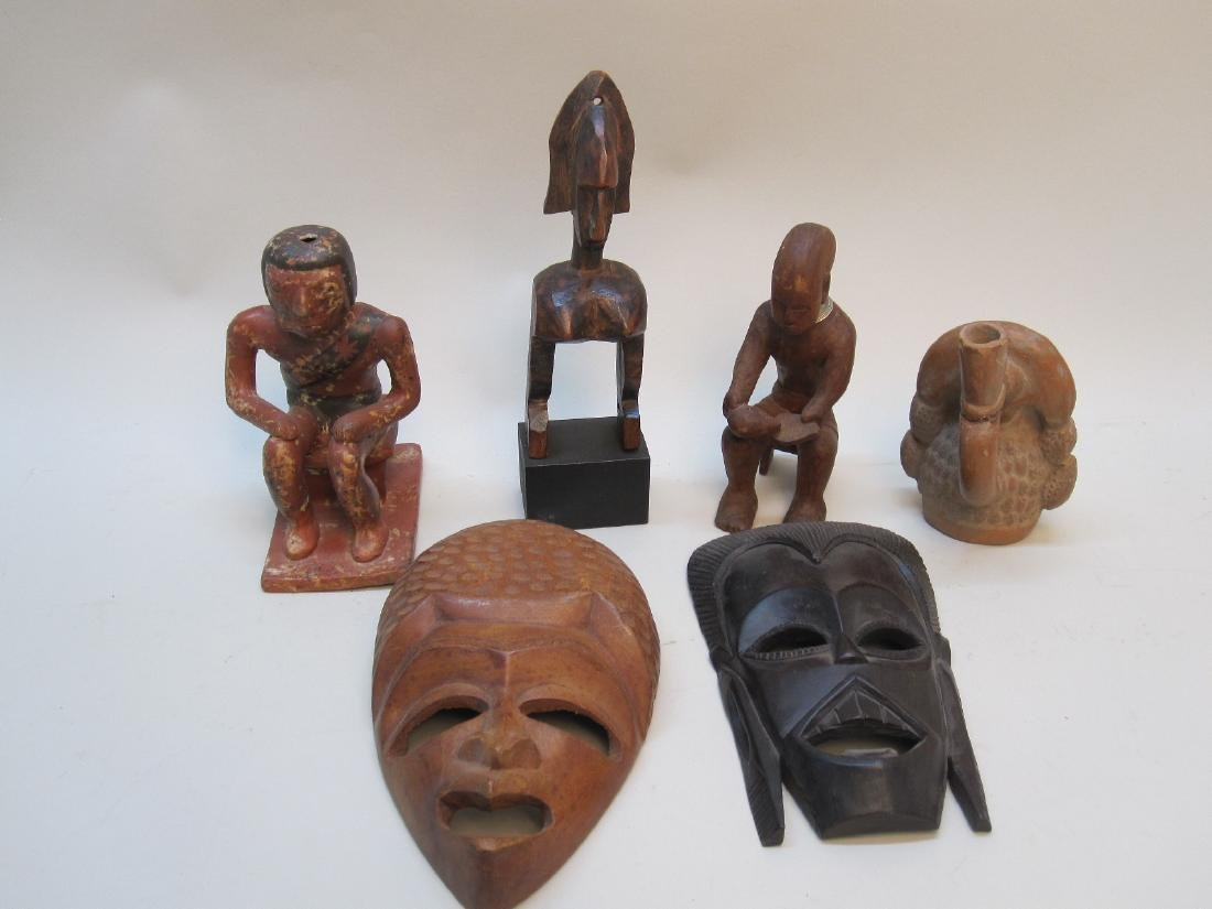 GROUP OF MEXICAN AND AFRICAN CARVINGS