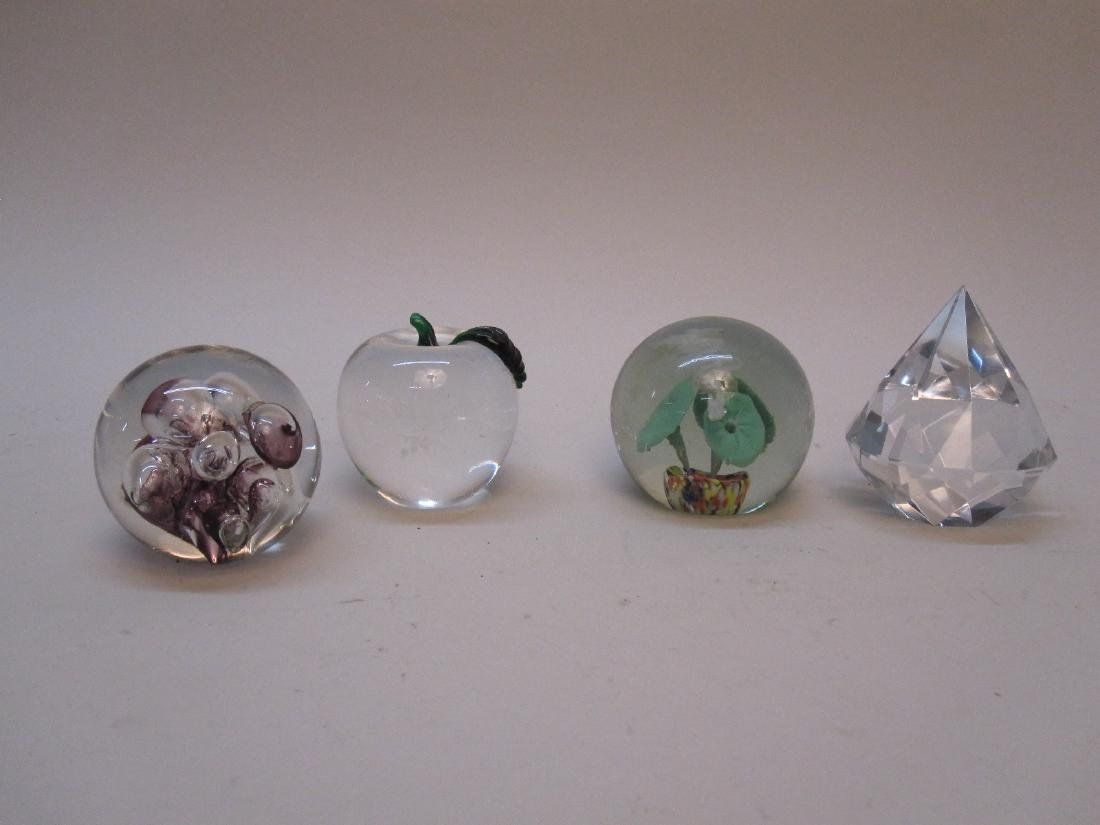 GROUP OF 4 ASSORTED GLASS PAPERWEIGHTS