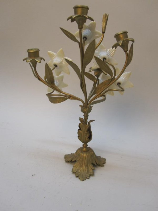 4 LIGHT GILT METAL CANDELABRUM - 4