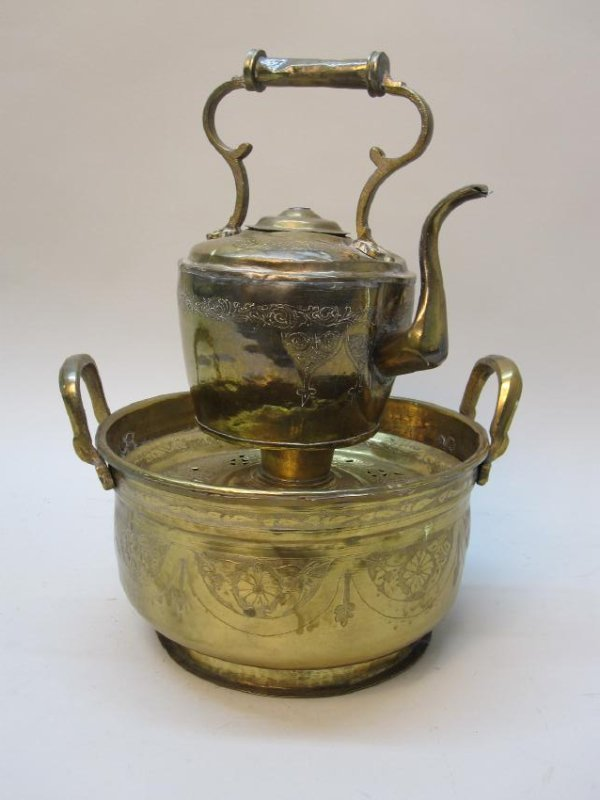 BRASS WATER KETTLE AND WARMING BIN