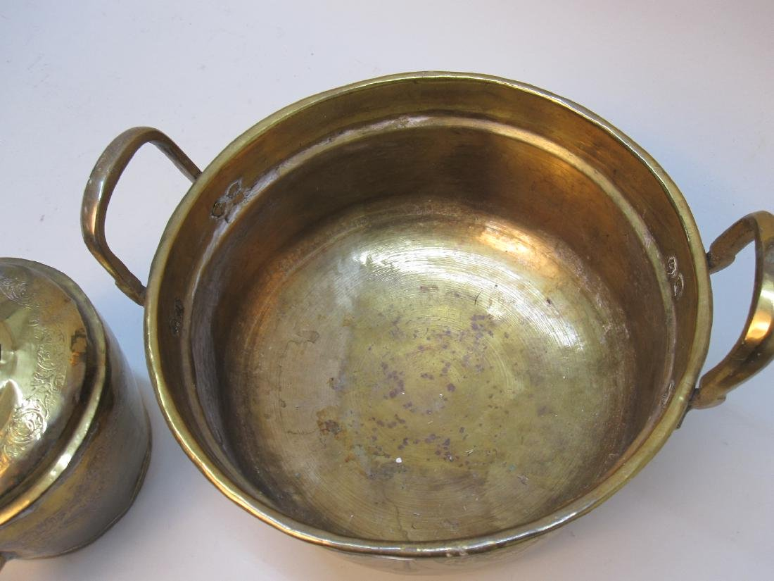 BRASS WATER KETTLE AND WARMING BIN - 4