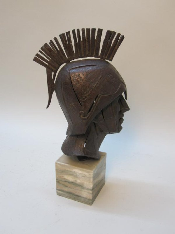 BRONZE BUST OF ROMAN SOLDIER - 4