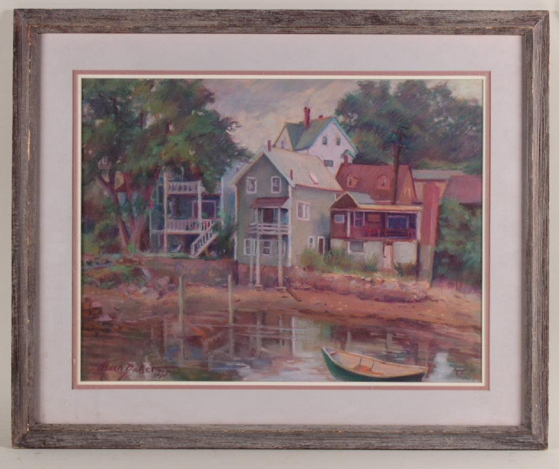 PASTEL, HOUSES ON POND, ALDEN BAKER