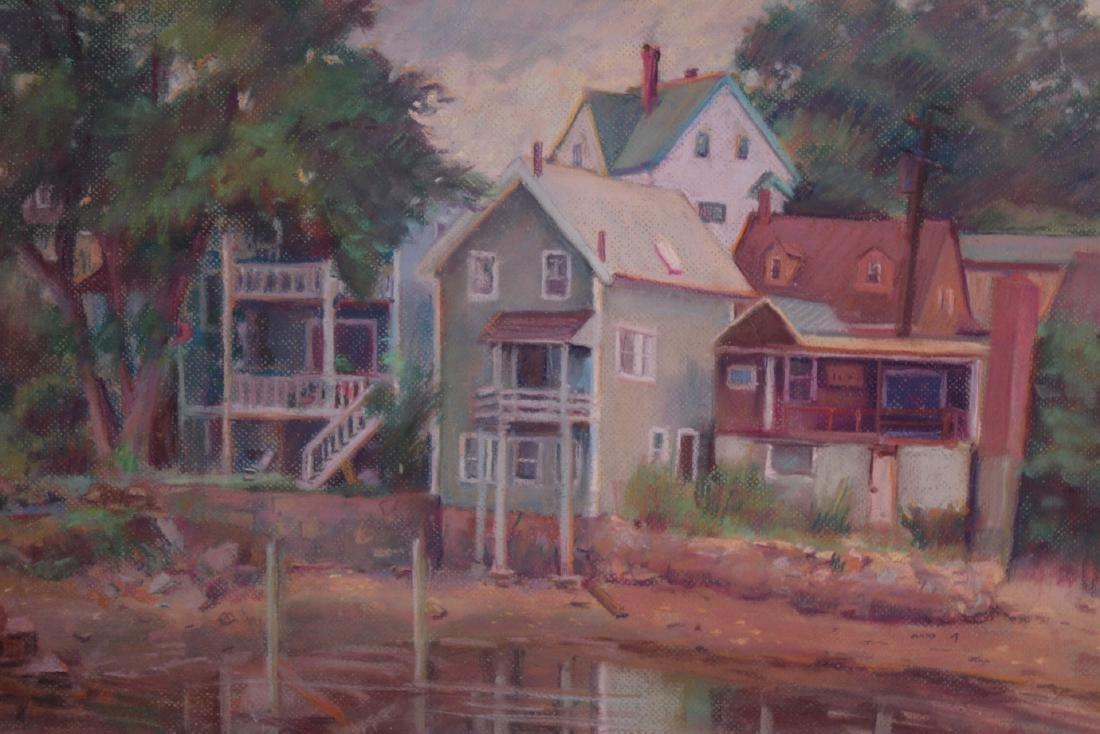PASTEL, HOUSES ON POND, ALDEN BAKER - 2