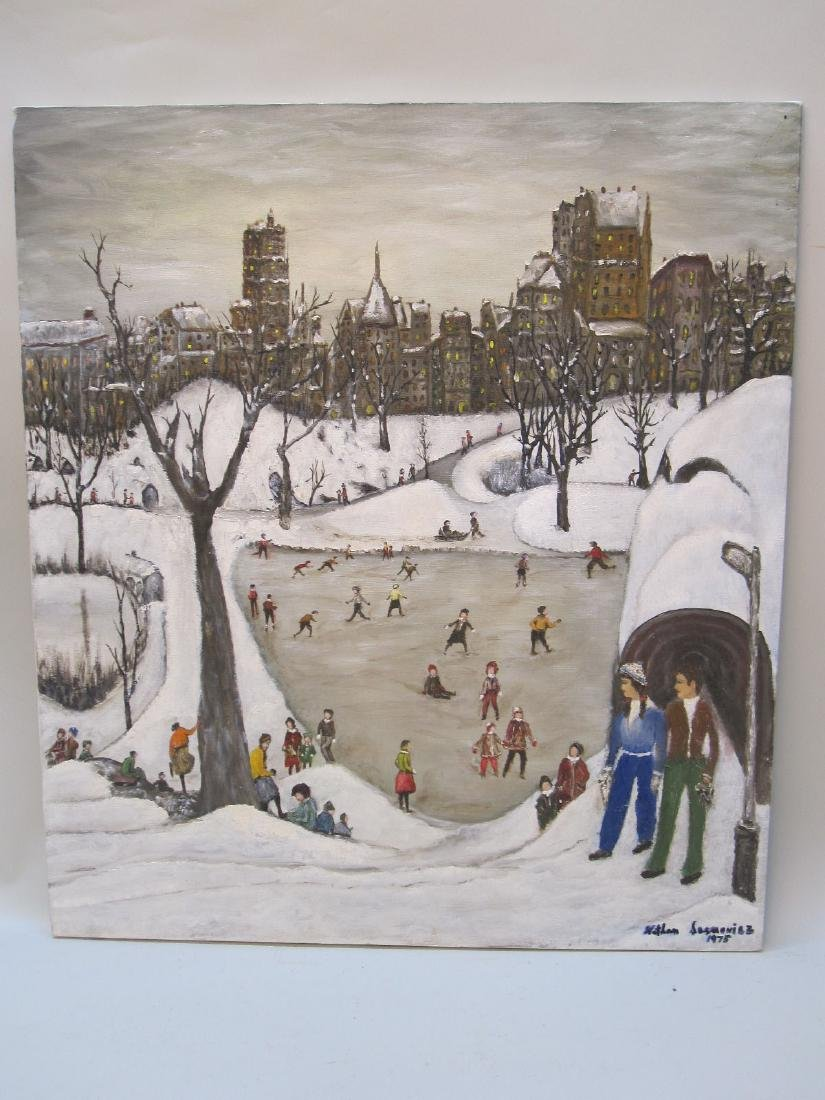OIL ON CANVAS OF WINTER CENTRAL PARK SCENE