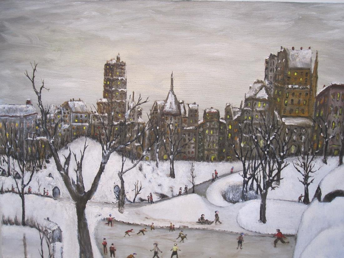 OIL ON CANVAS OF WINTER CENTRAL PARK SCENE - 2