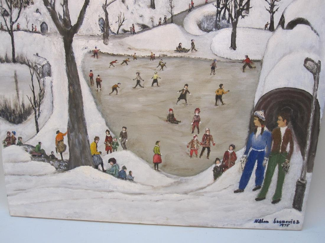 OIL ON CANVAS OF WINTER CENTRAL PARK SCENE - 3