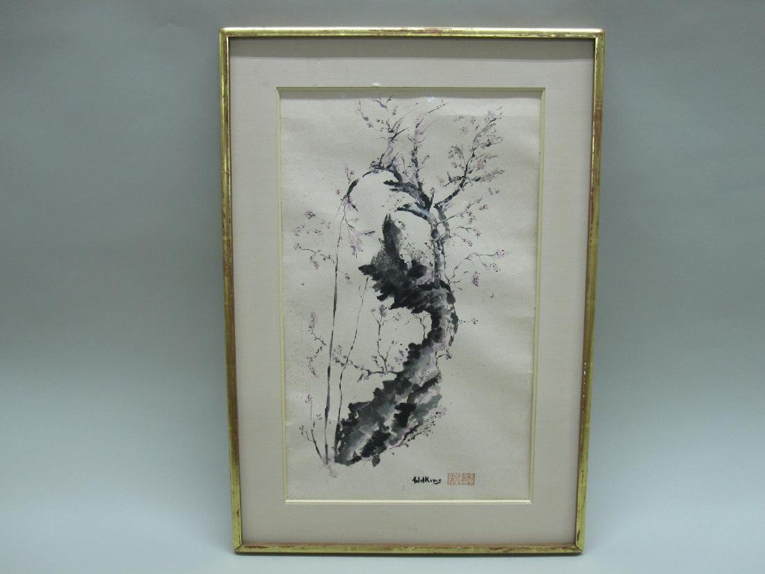 ORIENTAL WATERCOLOR OF CHERRY BLOSSOMS