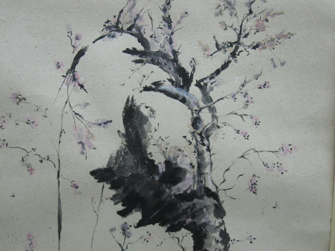 ORIENTAL WATERCOLOR OF CHERRY BLOSSOMS - 2