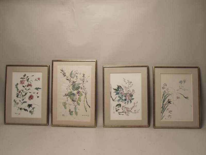 SET OF FOUR MIXED MEDIA SIGNED WILKINS
