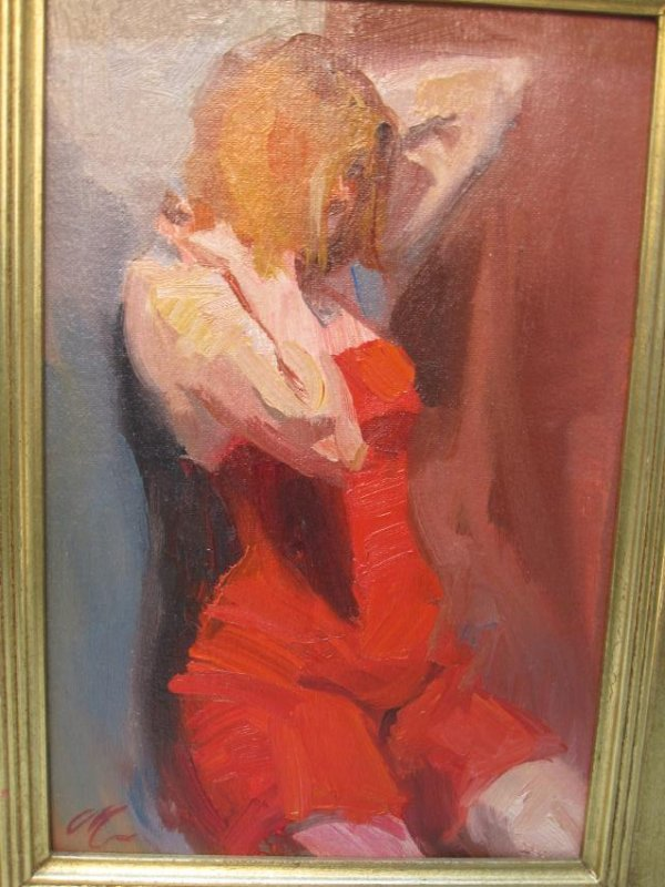 OIL ON BOARD OF FEMALE STUDY IN RED DRESS