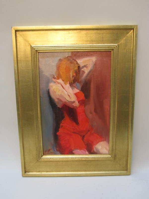 OIL ON BOARD OF FEMALE STUDY IN RED DRESS - 2