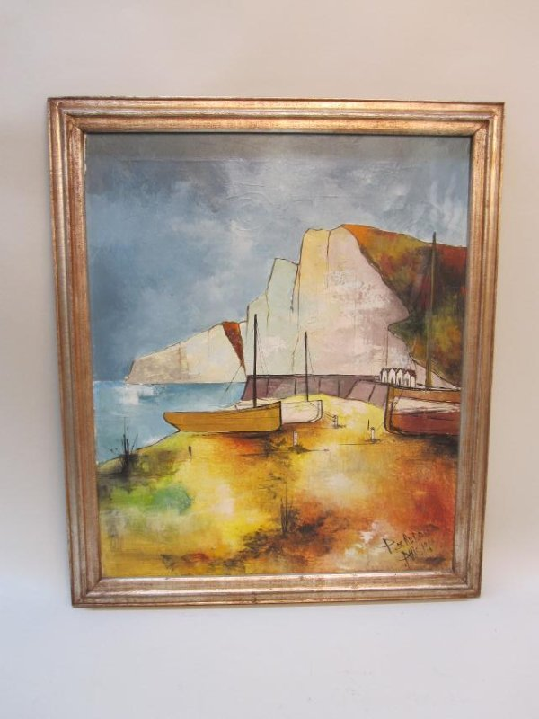 OIL ON CANVAS, TITLED DRY DOCK BY REDON