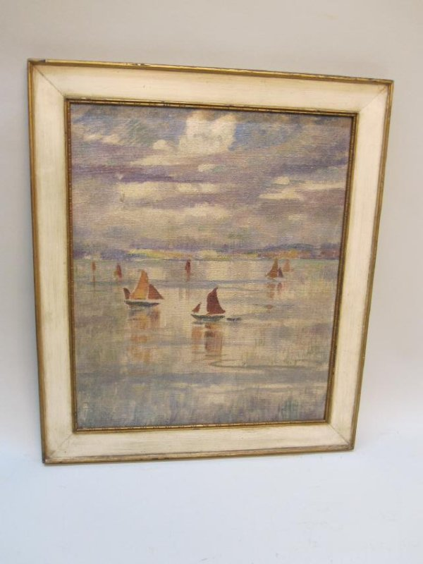 OIL ON BOAT OF SAILING BOATS ON LAKE