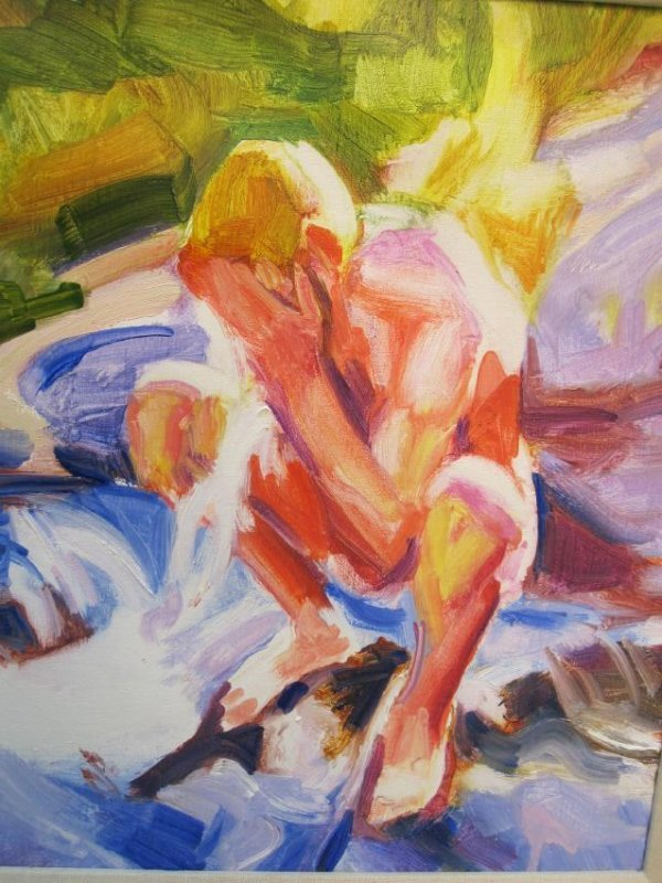 OIL ON CANVAS OF NUDE MAN BY WILLIE CHAMBERS