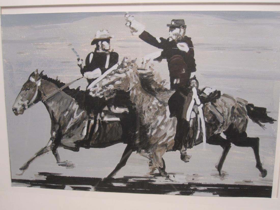 GOUACHE ON PAPER OF SOLDIERS ON HORSEBACK