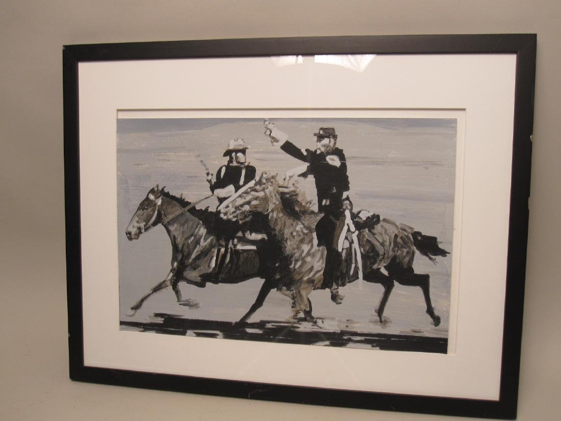 GOUACHE ON PAPER OF SOLDIERS ON HORSEBACK - 2