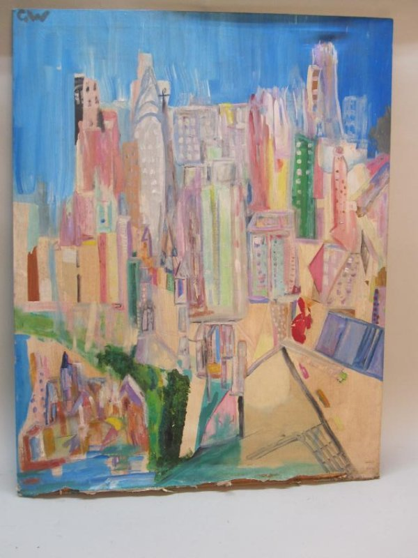 OIL ON CANVAS OF NEW YORK CITY LANDSCAPE