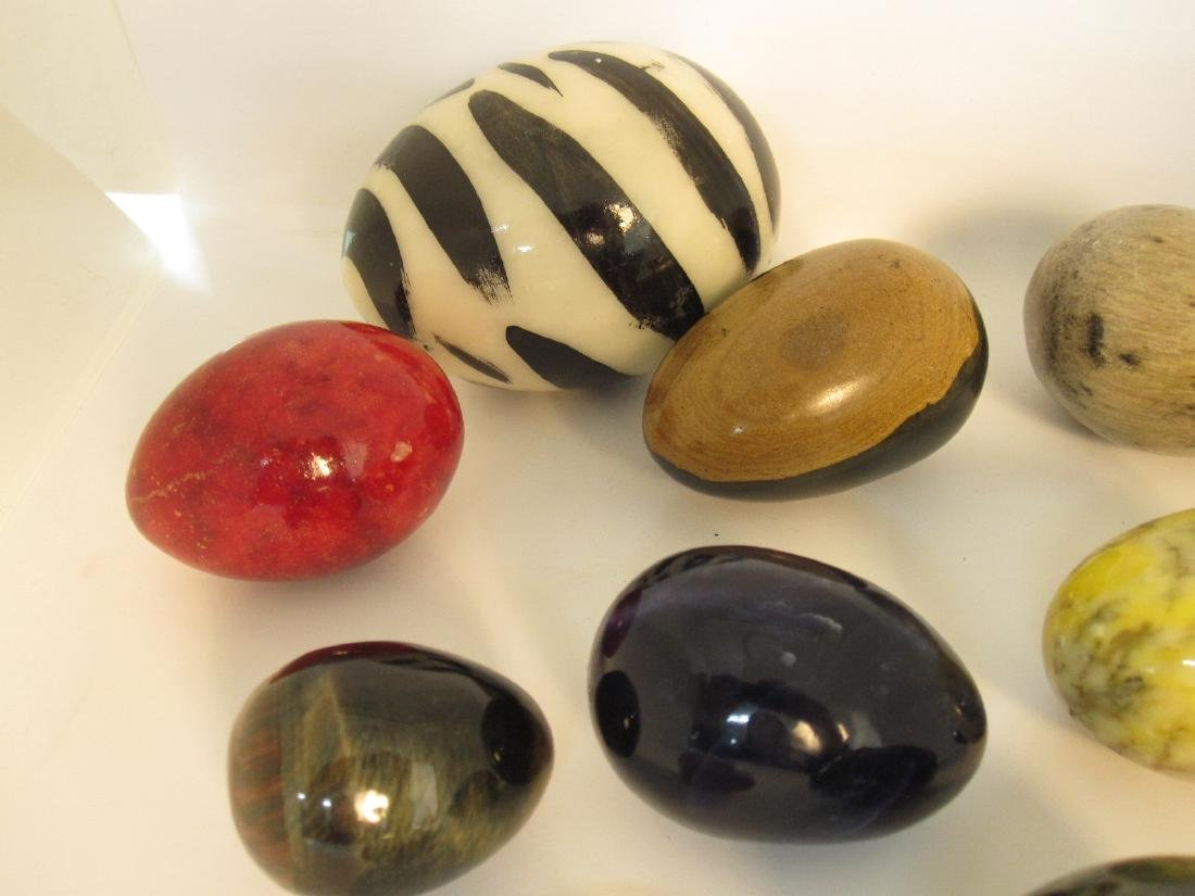 GROUP OF 13 ASSORTED STONE EGGS - 2