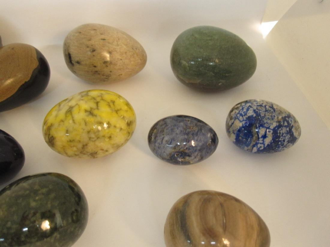 GROUP OF 13 ASSORTED STONE EGGS - 3