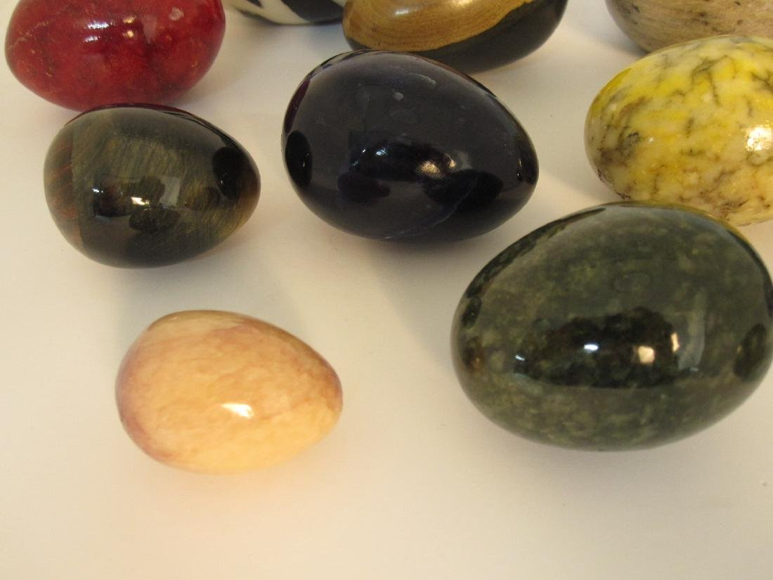 GROUP OF 13 ASSORTED STONE EGGS - 4