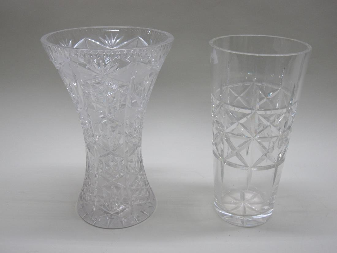 TWO LARGE CUT GLASS VASES