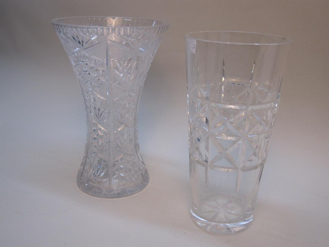TWO LARGE CUT GLASS VASES - 2