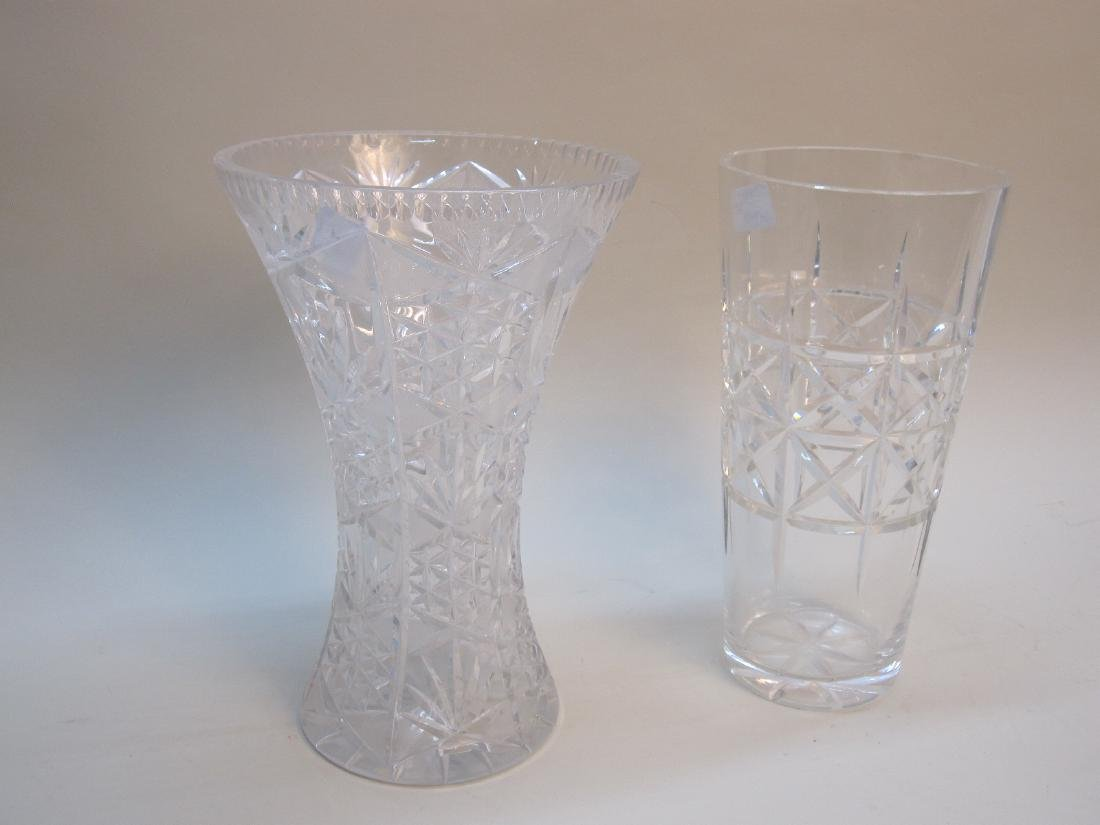 TWO LARGE CUT GLASS VASES - 3