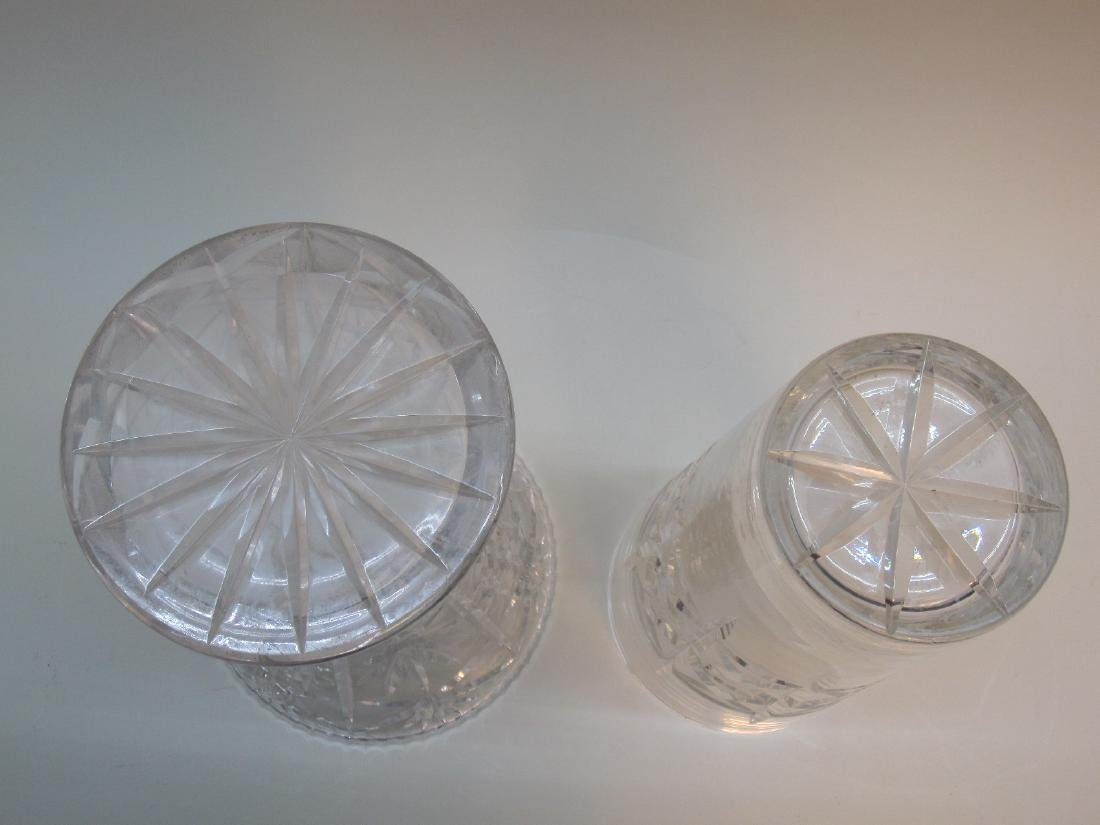TWO LARGE CUT GLASS VASES - 4