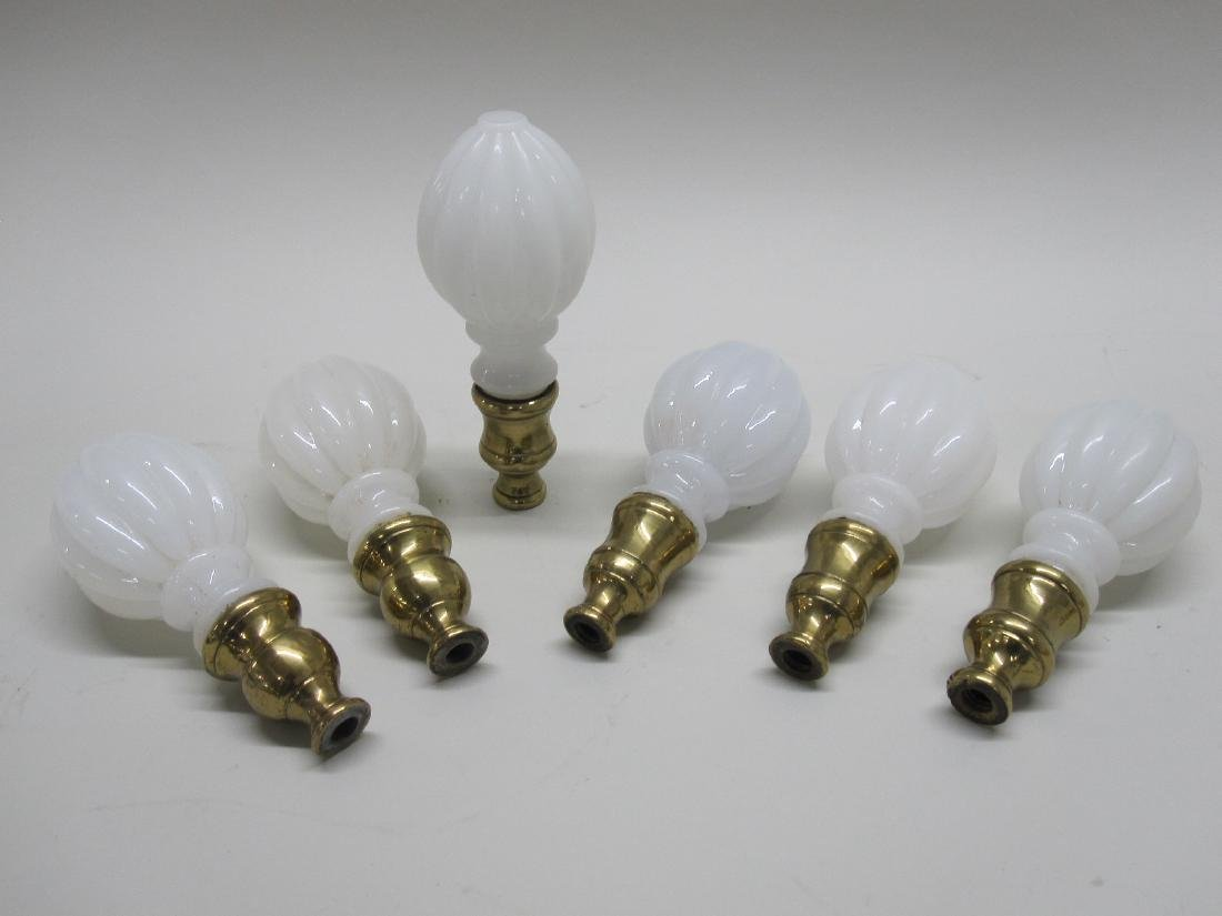 SET OF 6 BRASS AND GLASS CURTAIN ENDS