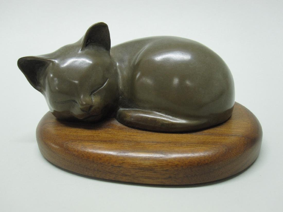 BRONZE FIGURE OF SLEEPING KITTEN