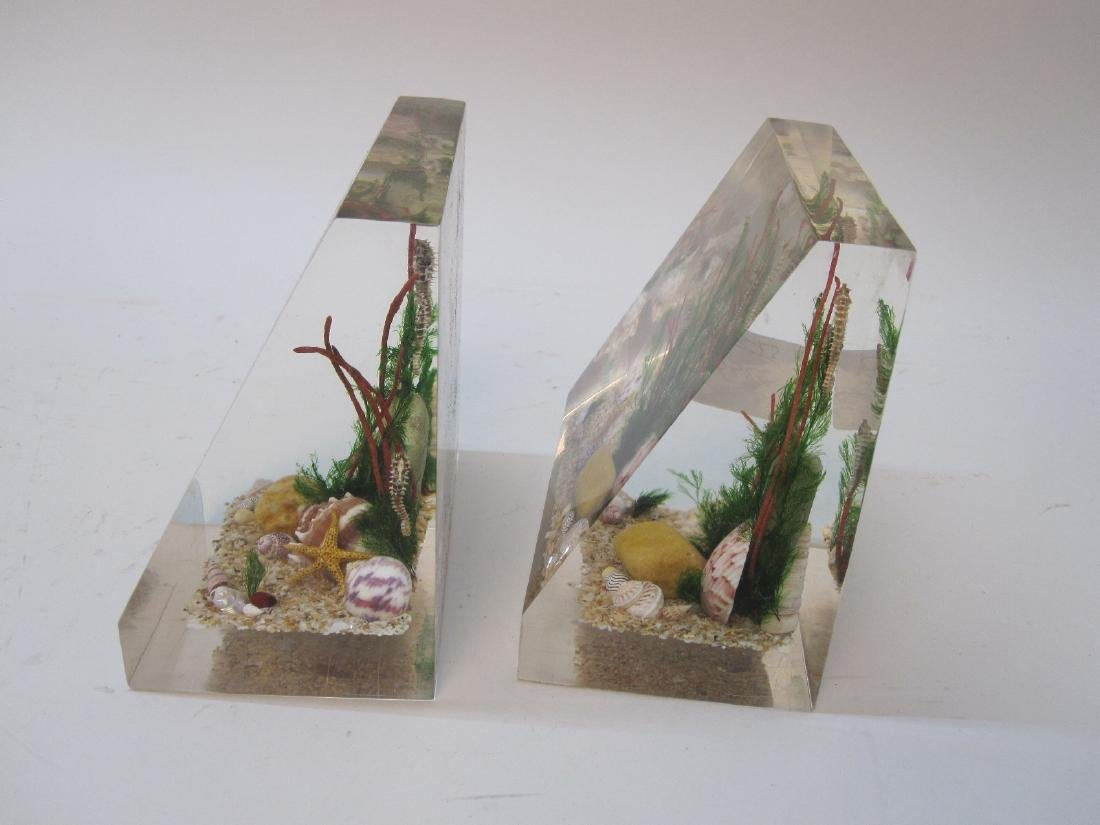 PAIR OF LUCITE BOOKENDS WITH SEASHELLS - 3