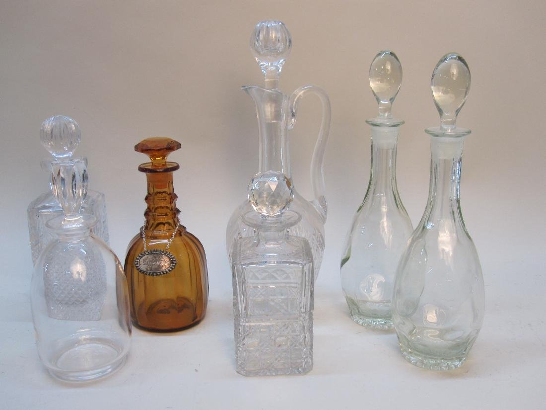 GROUP OF 7 ASSORTED GLASS DECANTERS