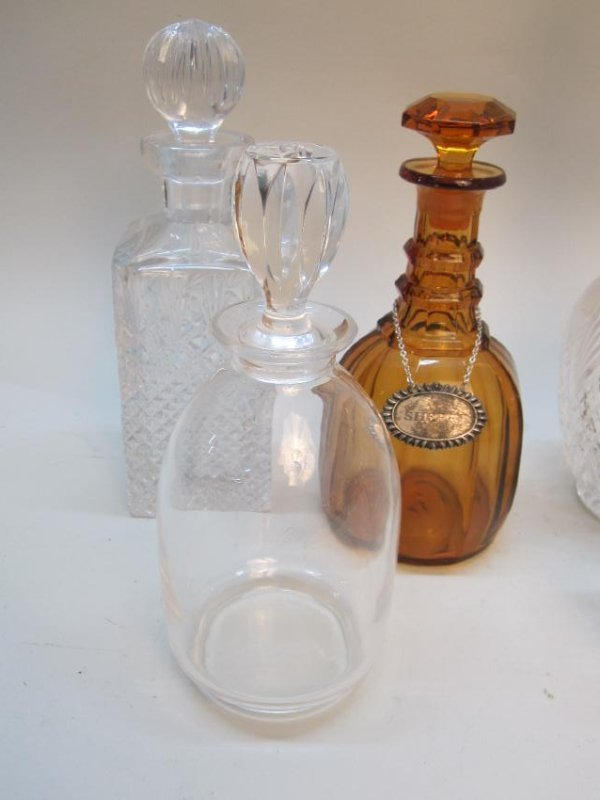GROUP OF 7 ASSORTED GLASS DECANTERS - 2